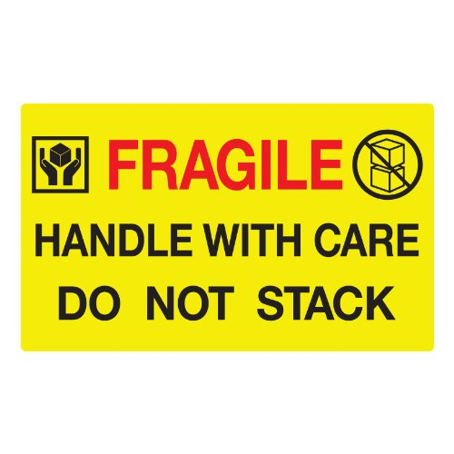 Jumbo Fluorescent Yellow Fragile Handle with Care Do Not Stack Pallet Labels, 250 Labels Per ()