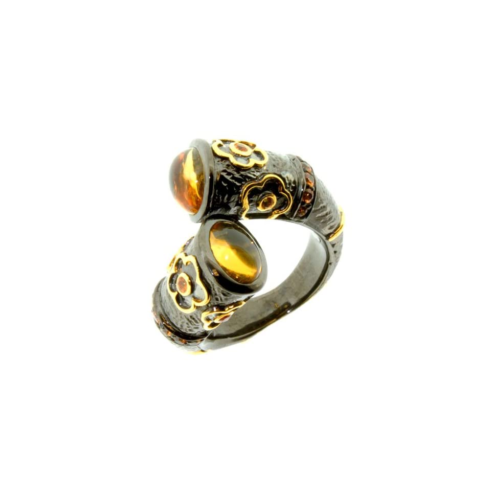 LenYa Special   Stunning new design Birthday Sterling Silver Ring with Oval Citrine, Round Sapphire, (Ring Size 7.75)