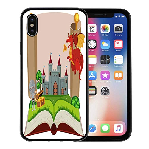 Emvency Phone Case for Apple iPhone Xs Case/iPhone X Case,Book Artistic Storybook Knight and Castle Beast Clip Clipart Soft Rubber Border Decorative, Black