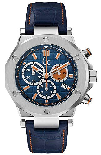 Guess Collection Men's Chronograph Quartz Watch with Blue Leather Strap GC-3 X72029G7S Stainless Steel Swiss Made