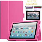 "EpicGadget Amazon Fire HD 10"" Case (2017) With Auto Sleep/Wake, Fire HD 10 7th Gen Stand Lightweight Cover PU Leather Case For 2017 Fire HD 10 + 1 Screen Protector and 1 Stylus (Hot Pink)"