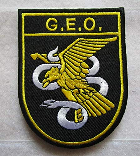 Spain SWAT GEO for International Missions and Embassies 3D Tactical Military Badges Embroidered Patch Back with Loops and - Embassy International