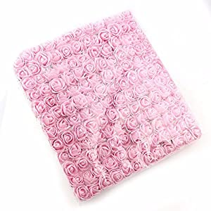 144pcs 2cm Mini Foam Rose Artificial Flower for Home Wedding Decoration DIY Pompom Wreath Decorative Bridal Flower Fake Flower (Light Pink) 2