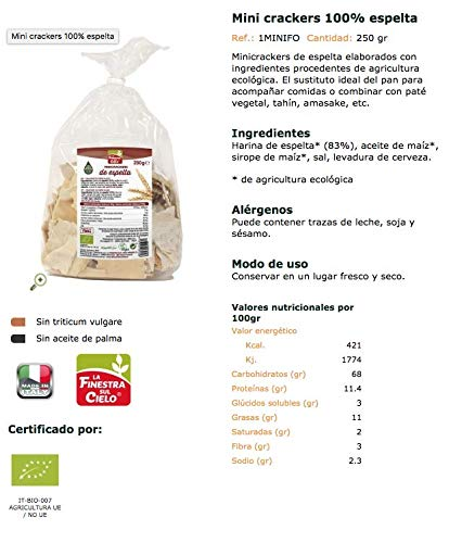 Mini crackers 100% espelta BIO - La Finestra sul cielo - 250 gr.: Amazon.es: Alimentación y bebidas