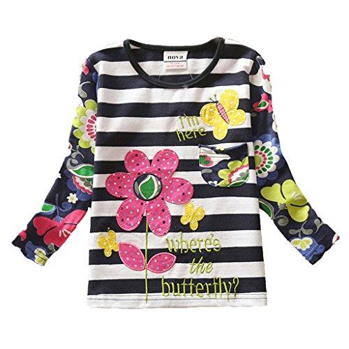 2015 NEAT Kid Girl Cotton Flower Long Sleeve T Shirt Tee Clothes (5 Long Sleeve T-shirt)