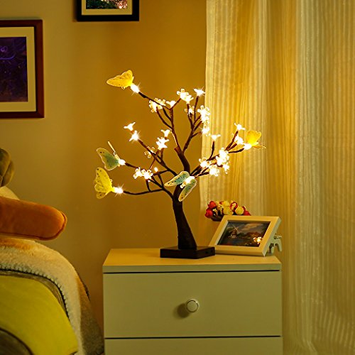 Adjustable Butterfly and Flower Desk Lamp |1.47 ft Tree Light for Wedding Living Room Bedroom Party Home Decor with 36 Warm White LED Lights|Two Mode: USB/Battery Powered (Butterflies Touch Lamp)