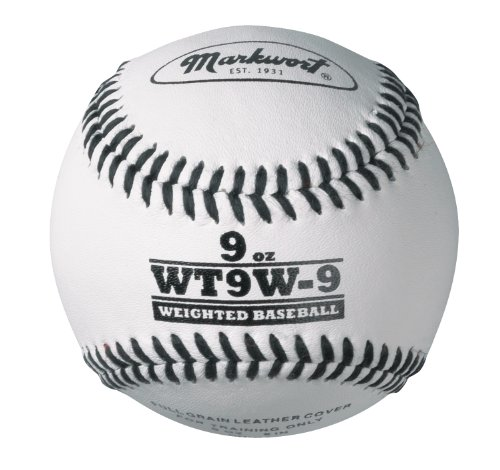 Markwort Lite Weight and Weighted Leather Baseball, White, 9-Ounce