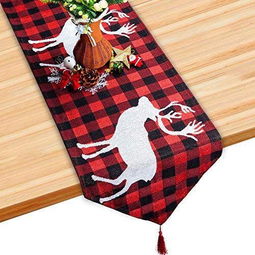 S SUNINESS Christmas Embroidered Elk Table Runner - Holiday Elk Embroidered for Family Dinners or Gatherings, Indoor or Outdoor Parties, Everyday Use, Black, White & Red (70.8