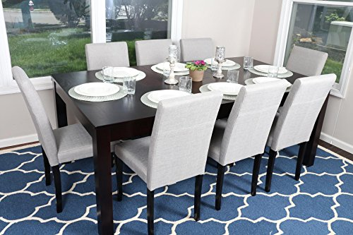 "Formal 9 Piece - 8 Person Butterfly Extension Table 42"" x 78"" and Chairs Dining Dinette - 150255 Grey Linen Parson Chair"