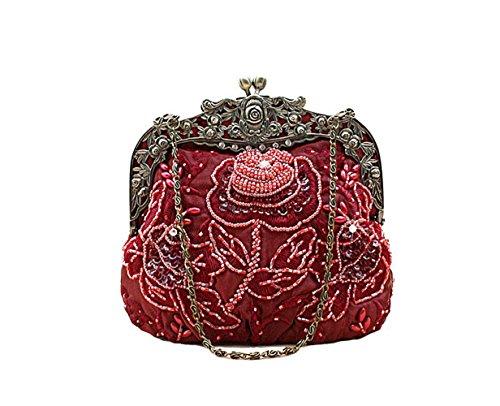 Women's Vintage Beaded Floral Satin Handbag Evening Purse Wedding Handbag for Party (Wine Red)