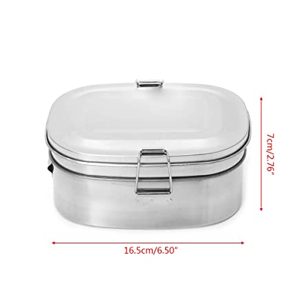 Double layer Stainless Steel Picnic Lunch Box Case Bento Food Container Travel