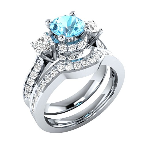 1.60 ct Round Cut Created Blue Topaz & White CZ Wedding Band Engagement Bridal Ring Set 925 Sterling Silver Plated