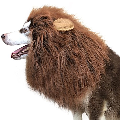 Tv Commercial Costumes Halloween (Dog Lion Mane,Kira'S Lion Mane Wig Costume for Dog, Interesting Costumes Lion Wig ---Medium to Large Sized Dogs Lion Mane Wig for Dogs,Lion Wig for Dog Halloween (Dark Brown, With Ear))