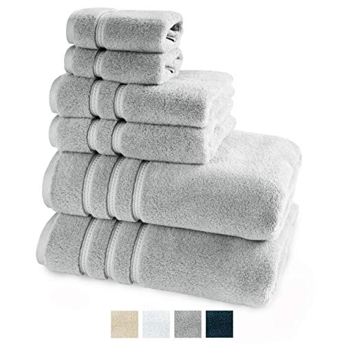 TRIDENT Large Bath Towels, 100% Cotton Zero Twist Towels 6 Piece Set -2 Bath, 2 Hand, 2 Washcloths, Softer Than a Cloud, Premium, Absorbent, Luxury Hotel Collection (Grey)