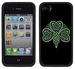 Celtic Shamrock Handmade iPhone 4 4S Black Case