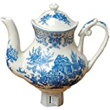 Green Pastures Wholesale Blue Toile Teapot Porcelain Night Light, 5-Inch by 4-Inch by 6-Inch