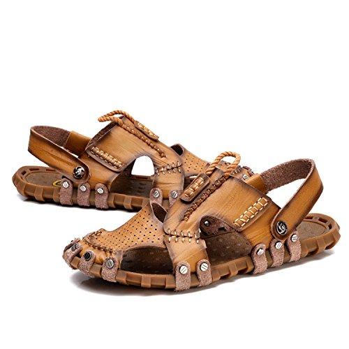 Sandali Scarpe da Comode da uomo khaki Trekking uomo da Sandali punta chiusa a in uomo spiaggia NANXIE pantofole da esterno da Walking pelle sportivi Pakamo 41Ewn5