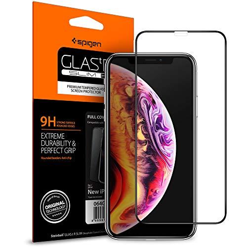 灰イタリック強調する【Spigen】 iPhone XR ガラスフィルム 6.1インチ 用 全面保護フィルム 液晶強化ガラス 【フルカバー】 9H硬度 發油加工 Haptic Touch Face ID 対応 064GL25233 (FC HD Black (1枚入))