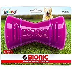 Outward Hound Tough Rubber Dog Bone, Durable Chew Toy for Large Dogs by Bionic, Large, Purple