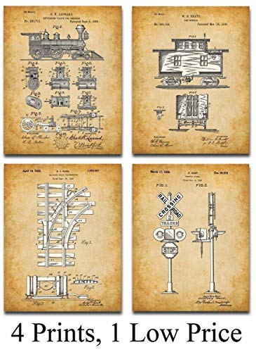 Original Railroad Trains Patent Art Prints – Set of Four Photos (8×10) Unframed – Makes a Great Gift Under $ 20 for Rail Fans