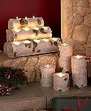 "Candle Light Tea Holder New Decor Votive Set Tealight Rustic Wood Yankee Centerpiece Wine Christmas 4 Logs Birch Wood 12-Tea Light Candle-Holder Log, 12""W x 6-1/4""D x 8""H"