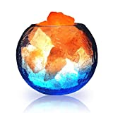LUCKSTAR Natural Himalayan Crystal Salt Lamp- USB Natural Salt Crystal Chunks with Stripe Indoor Decoration Dimmer Switch Soft Warm Healthy Negative Ion Air Purifying Lamp,Table Lamp Bedroom Lava Lamp