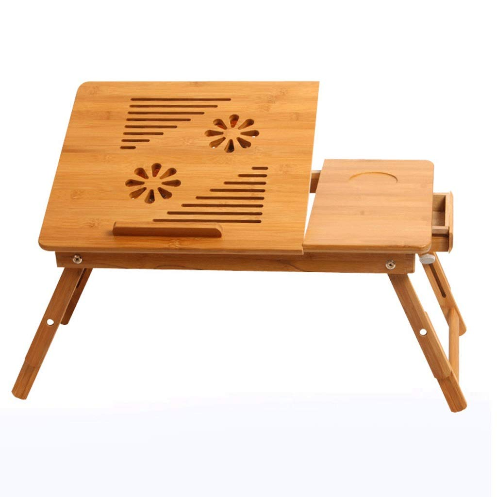 ZEZHOU ラップトップスタンド、引き出し付きファン付き折りたたみトレイベッドテーブル大きな出窓竹学生研究テーブル(ログカラー) (色 : Without fan)  Without fan B07RL2254F