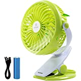 REMAX Battery Operated Fan USB Rechargeable Silent Desk Fan 4.5h 4 Blades Mini Personal Fan with Clip and 2200mAh 18650 Battery