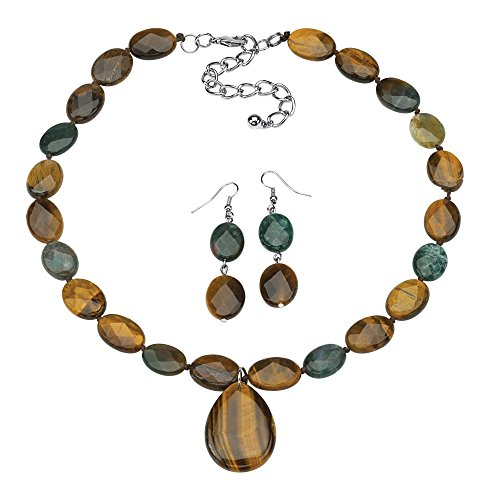 Palm Beach Jewelry Genuine Jasper and Tiger's Eye Multi-Color Silvertone Necklace and Drop Earrings Set 18