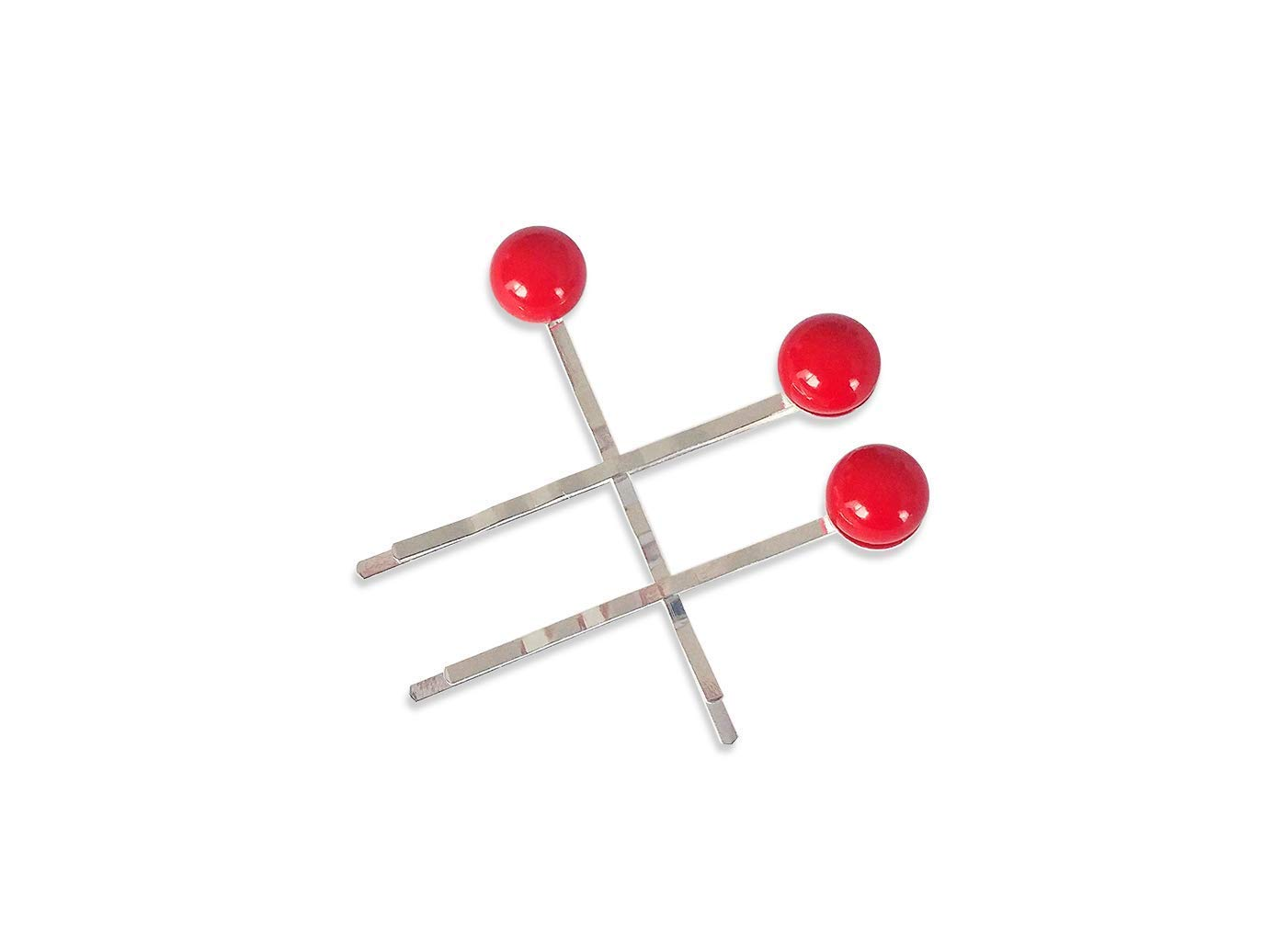 Red Berry Hair Clips for Women Modern Minimal Style Set of Three Silver Bobby Pins