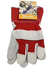 Save on JVL Pair of Rigger Leather Fabric Work Gardening Gloves, Red, Size 10/Large and more