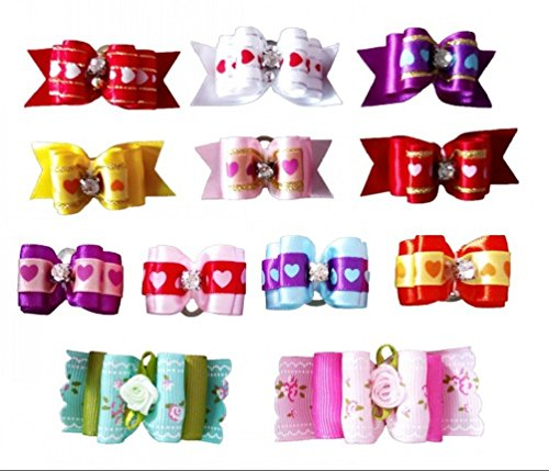 PET SHOW Rose Heart Pet Topknot Hair Bows with Rubber Bands Dog Cat Puppy Grooming Hair Accessories Random Color for Valentine's Day Pack of 50 by PET SHOW (Image #3)