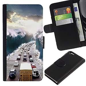 Ver Sol Embotellamiento Wave- la tarjeta de Crédito Slots PU Funda de cuero Monedero caso cubierta de piel Para Apple (4.7 inches!!!) iPhone 6 / 6S