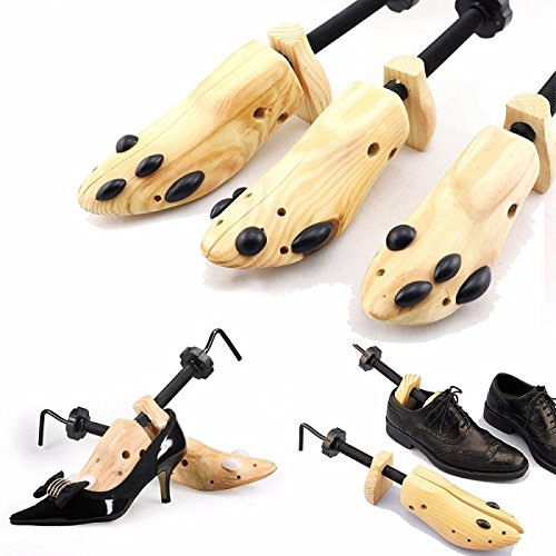 One Pair Shoe Stretcher Expander Shaper Adjustable Size 6-13 Wooden, Unisex Women Men]()