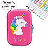 Unicorn Hard Pencil Case + 10 Colors Gel Ink Pens - Fine Point 0.5mm Pens - Large Capacity Pen Holder Stationery Box with Compartments - Unicorn School Supplies for School Student Girls