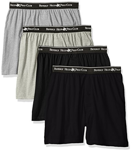 Beverly Hills Polo Club Men's 4 Pack Knit Boxer, Black/Grey Charcoal Heather, XX-Large