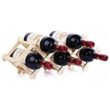 EtechMart Countertop Stackable Wooden Wine Rack Free Standing 5-Bottle