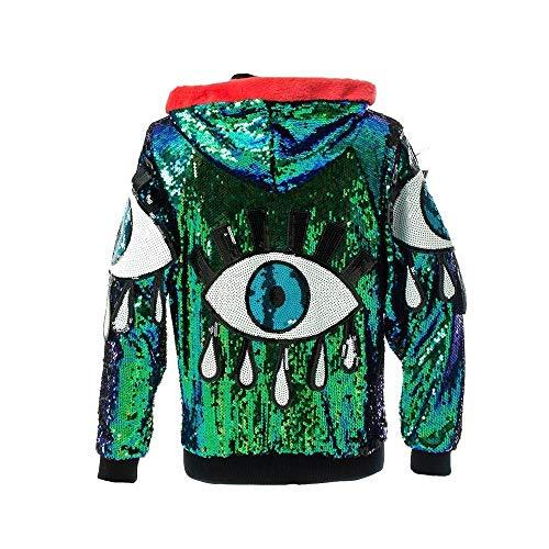 Iridescent All Seeing Evil Eye Sequin Jacket Hoodie Mermaid Magic Vintage Ibiza Festival Punk EDM Plur]()
