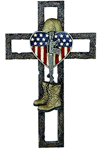 Faux-Metal Fallen Soldier Memorial Wall Cross with American Flag and Heart Theme, (Fallen Soldiers Cross)