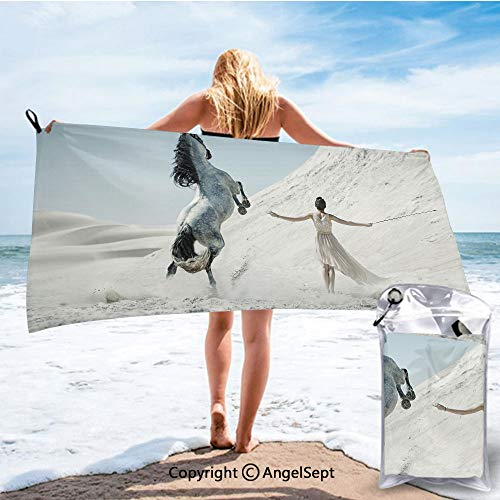 RWNHome Towel Fashion Beach Towels for Travel - Quick Dry,Pretty Lady with White Horse Rearing Up on The Desert Equestrian Mountains Mare White Slate Blue,31.5