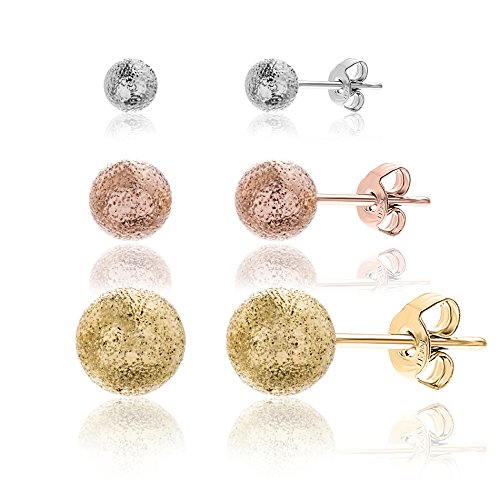 AUBREY LEE Textured Trio Ball Earring Set in Tri-Color Plated Brass - Trio Hoop Earrings Set