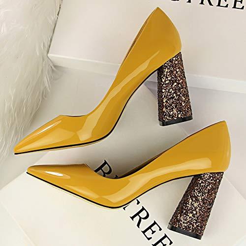 Verano De Zapatos alto Negro De de Yukun Salvaje tacón Profunda zapatos De Yellow Zapatos Boca Negro Charol 39 Amarillo con Otoño Grueso De De Tacón Alto Mujer Zapatos Poco CqH81