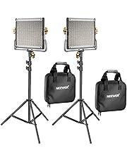 Neewer 2 Pack Dimmbare Bi-Farbe 480 LED Video Lichtstand Beleuchtung Kit: 3200-5600K CRI 96+ LED Panel mit U Halterung 78,7 Zoll Lichtstand für YouTube Studio Fotografie Video