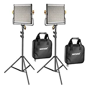 Neewer 2 Pack Dimmable Bi-Color 480 LED Video Light and Stand Lighting Kit Includes: 3200-5600K CRI 96+ LED Panel with U Bracket, 78.7 inches Light Stand for Youtube Studio Photography Video Shooting