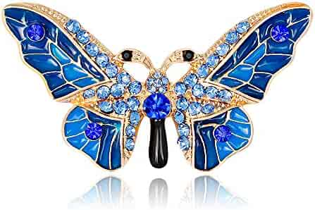 e47364400 EmmaGreen Butterfly Brooch Pin Enamel Crystal Vintage Antique Animal  Corsages Scarf Clips Brooches