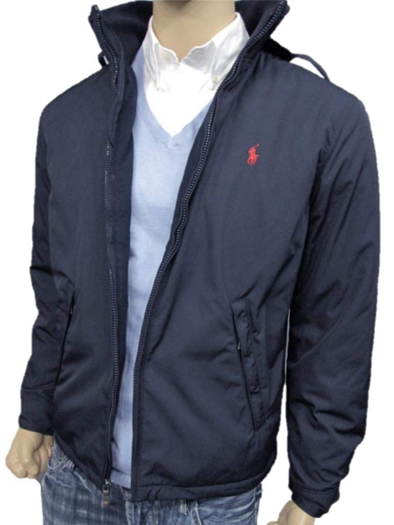 e8e868b9 Polo Ralph Lauren Mens Perry Lined Winter Jacket (XL, Navy Red Pony)