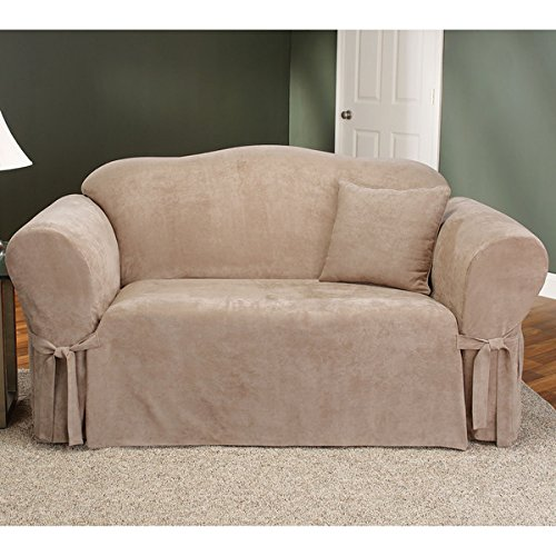 Sure Fit Soft Suede 1-Piece  - Sofa Slipcover  - Taupe (SF32537) (Leather Sofa Couch Taupe)