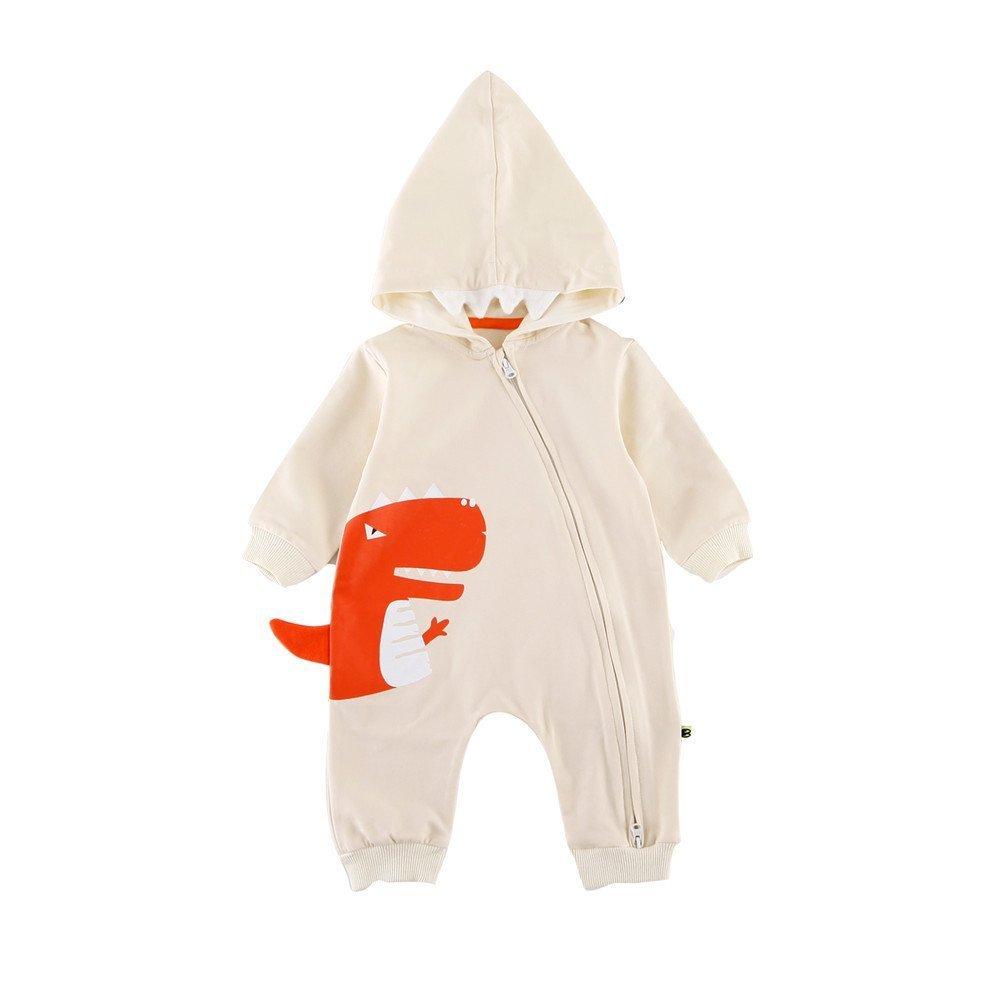 Teeker Unisex Hoodie Jumpsuit Cotton Onesies Long Sleeve Baby Body Suit Dinosaur Print