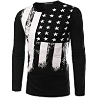 Zawapemia Mens American Flag Printed Long Sleeve Pullover Shirts