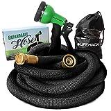 MrLifeHack Expandable Hose (50ft) by Kink Free Expanding Garden Water Hose - Leak Proof, Lightweight & Durable - Solid Brass Connectors - Includes BONUS 8 Pattern Nozzle Sprayer & Storage Bag
